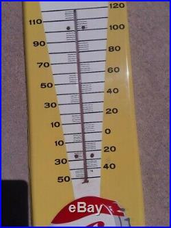 Vintage 1957 Pepsi Cola Soda Pop Gas Oil 27 Embossed Metal Thermometer Sign