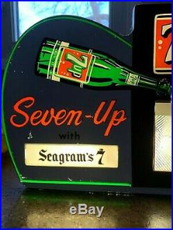 Vintage 1960's 7up Seagrams Whiskey 7 & 7 Highball Lighted Motion Soda Pop Sign