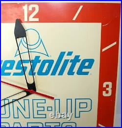 Vintage 1960's Prestolite Tune-up Parts Advertising Clock Sign Gas/oil 14 Sq