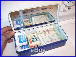 Vintage 1962 rare original GM CHEVROLET promo safety First aid auto kit case box