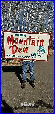 Vintage 1964 Mt. Mountain Dew Soda Pop Metal Sign With Gr8 hillbilly Graphic 59X36