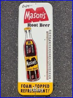 Vintage 1965 Mason's Root Beer Thermometer Sign Soda Advertising Memorabilia