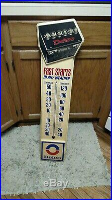 Vintage 1974 Delco Batteries Chevrolet Gas Oil 35 Embossed Thermometer Sign