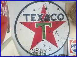 Vintage 6 Foot Porcelain Double Side Texaco Sign