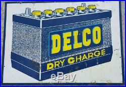 Vintage AC Delco Dry Charge Battery Sign Gas Station Oil Garage Display Man Cave