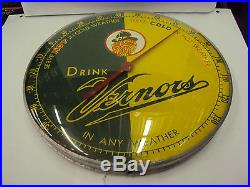 Vintage Advertising Drink Vernor's Round Metal/glass Thermometer 29-y