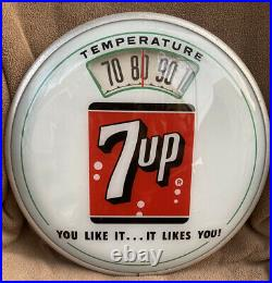 Vintage Advertising Rare 7 Up Round Bubble Glass Wall Thermometer
