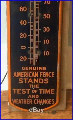 Vintage American Steel & Wire Fence Porcelain Thermometer Advertising Sign