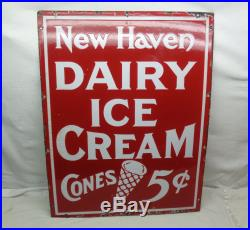 Vintage Antique Heavy Porcelain New Haven Dairy Ice Cream Sign