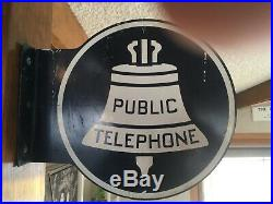 Vintage/Antique Public Telephone Metal Sign Flange Double Sided-fun to own
