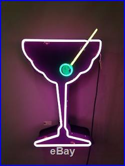 Vintage Art Deco Martini Cocktail Neon Sign Original 50's Hollywood California