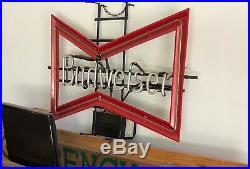 Vintage BUDWEISER Beer Bow Tie Neon Bar Advertising Sign RARE