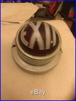 Vintage Beautiful ART Deco Theater Round EXIT Light Fixture Advertising SIGN