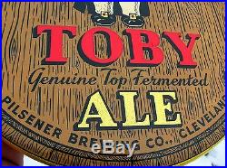 Vintage Beer Advertising Bar Sign Toby Ale Cleveland Ohio POC Flat Top Can Era