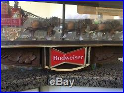 Vintage Budweiser Clydesdale 2 sided clock light sign advertisement