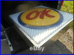 Vintage CHEVROLET CHEVY OK USED CARS Lighted AUTO Dealer OIL Advertising SIGN
