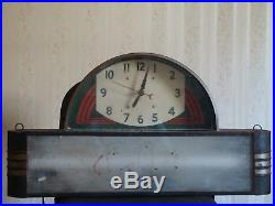 Vintage Champion Spark Plug Lighted Art Deco Clock by Neon Products Lima, Ohio