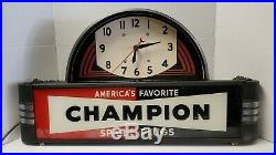 Vintage Champion Spark Plugs Lighted Sign With Clock Neon Products Inc. Works