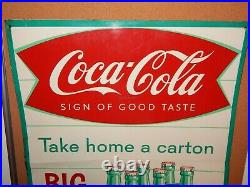 Vintage Coca Cola Fish Tail Metal Sign-big King Size 6 Pack Take Home A Carton