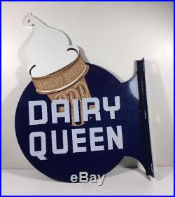 Vintage Dairy Queen Ice Cream Cone 20 X 15 Metal Double Sided Dq Flange Sign