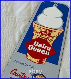 Vintage Dairy Queen Porcelain Sign Milk Gas Blizzard Dilly Bar Ice Cream Cake