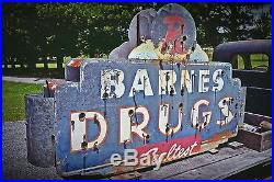 Vintage Double Sided Neon Sign Barnes Drugs