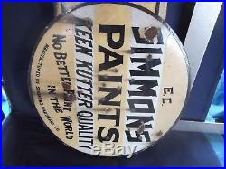 Vintage EC Simmons Keen Kutter Double Sided Porcelain Flanged Paint Sign, Rare