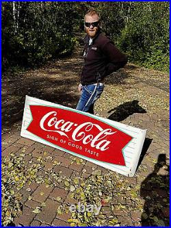 Vintage Early RARE Coca Cola Soda Pop Metal Fishtail Sled Sign Coke 68X24 WOW