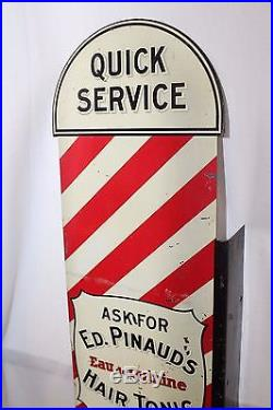 Vintage Ed. Pinauds Aftershave Hair Tonic BarberPole Shop Advertising Flange Sign