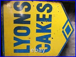 Vintage Enamel Sign Lyons Cakes Double Sided Sign With Wall Mounting Flange