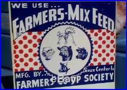 Vintage Farmers Coop Feed Farm Metal Sign Cow Pig Chicken Sheep Graphic 12X12