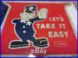 Vintage Ford Police School Tag Sign Antique Gas Oil Policeman Auto Rare 9896