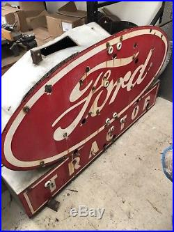 Vintage Ford Tractor Double Sided Porcelain Neon Sign Gas Oil Chevy