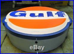 Vintage GULF Gas Station Lighted Sign 22 (Converted to LED) Petroleum Oil