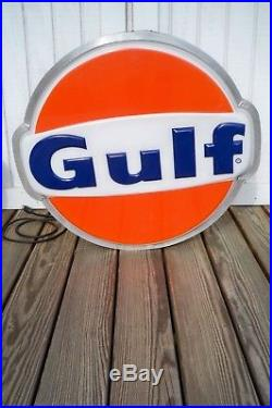 Vintage GULF SIGN Electric Lighted Large Round