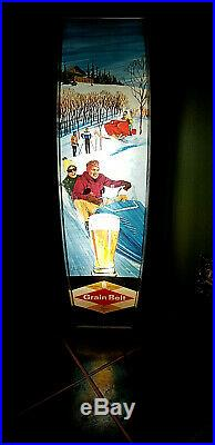 Vintage Grain Belt Beer Brewery Vertical Snowmobile Light Sign Cabin Decor 36in