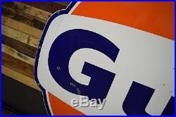 Vintage Gulf Porcelain Sign 60's Oil Advertising Gas Station Porsche Ford Racing