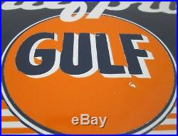 Vintage Gulfpride porcelain sign original orange blue white advertising man cave