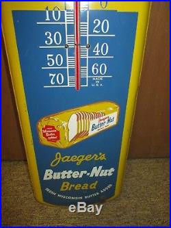 Vintage JAEGER'S BUTTER-NUT Bread Tin Non Porcelain Thermometer SignRARE! 40's