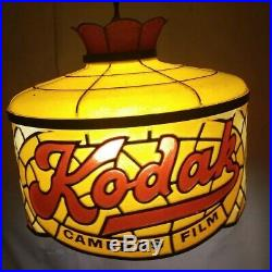 Vintage Kodak Camera Film Store Counter Hanging Stained Glass Light Lamp Sign