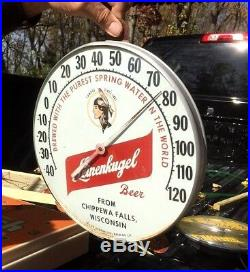 Vintage Leinenkugel Beer 12in Glass Thermometer Sign With Indian Maiden Graphic