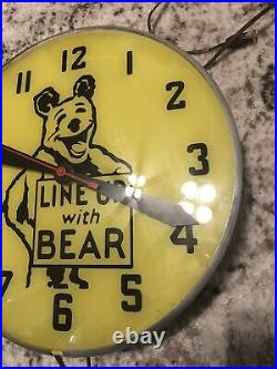 Vintage Line Up With Bear Electric Light Up Clock