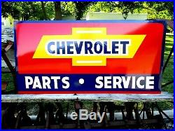 Vintage Metal Chevy CHEVROLET USED CARS Parts Service Gas 36 Hand Painted Sign