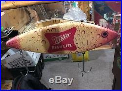 Vintage Miller High Life Fishing Lure Beer Advertising Sign Very Cool & Rare