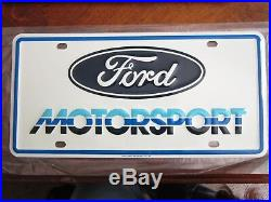 Vintage NOS! FORD MOTORSPORT plate 1986 Scioto signs Shelby Cobra Mustang