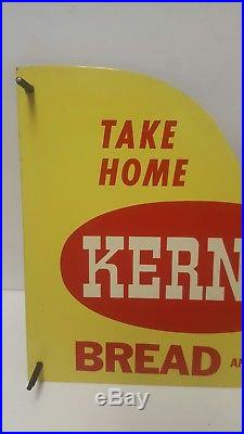 Vintage NOS Kerns Bread Screen Door Push Pull Sign Handle Country Store NM