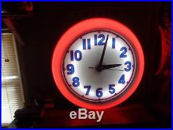 Vintage Neon Clocks Cleveland Clock Company Sign Gas Oil