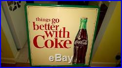 Vintage Original 1960s Coca-Cola Metal Sign Things Go Better With Coke EX COND