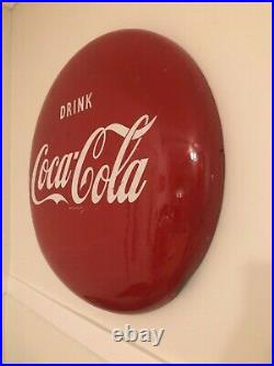 Vintage Original 24 Inch Cocoa Cola Button Sign from 1950s