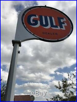 Vintage Original 6Gulf Gas Station Porcelain Sign with frame and Pole
